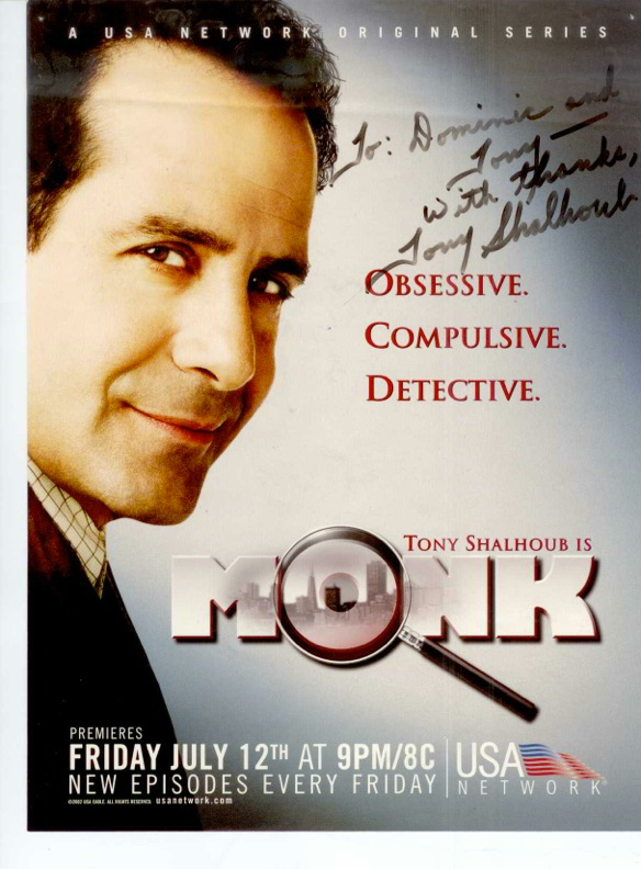 "Autographed ""Monk"" poster from lead actor Tony Shalhoub."
